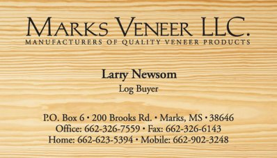 Marks Veneer, LLC business cards