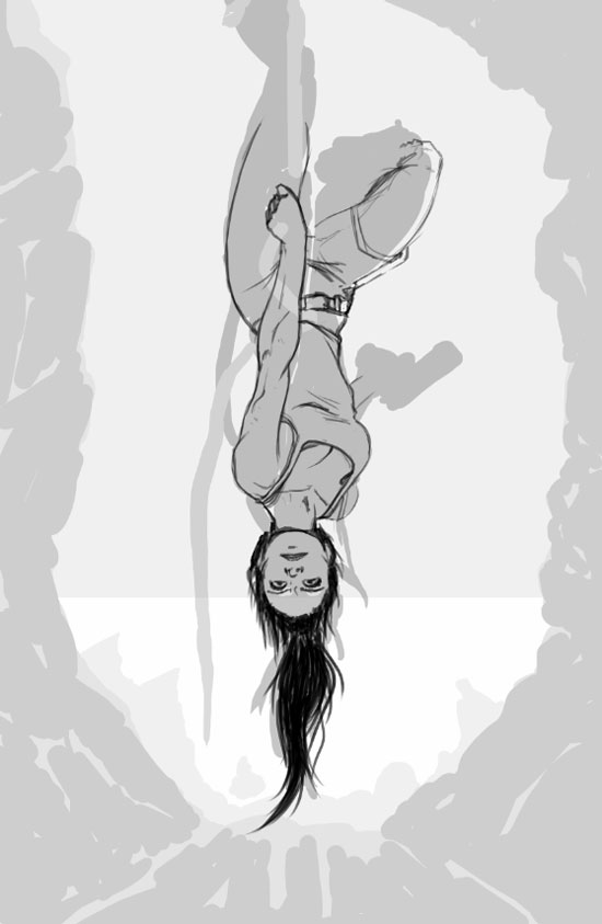 lara croft hanging from rope in cave