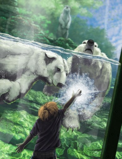 child freezing the window of a polar bear exhibit