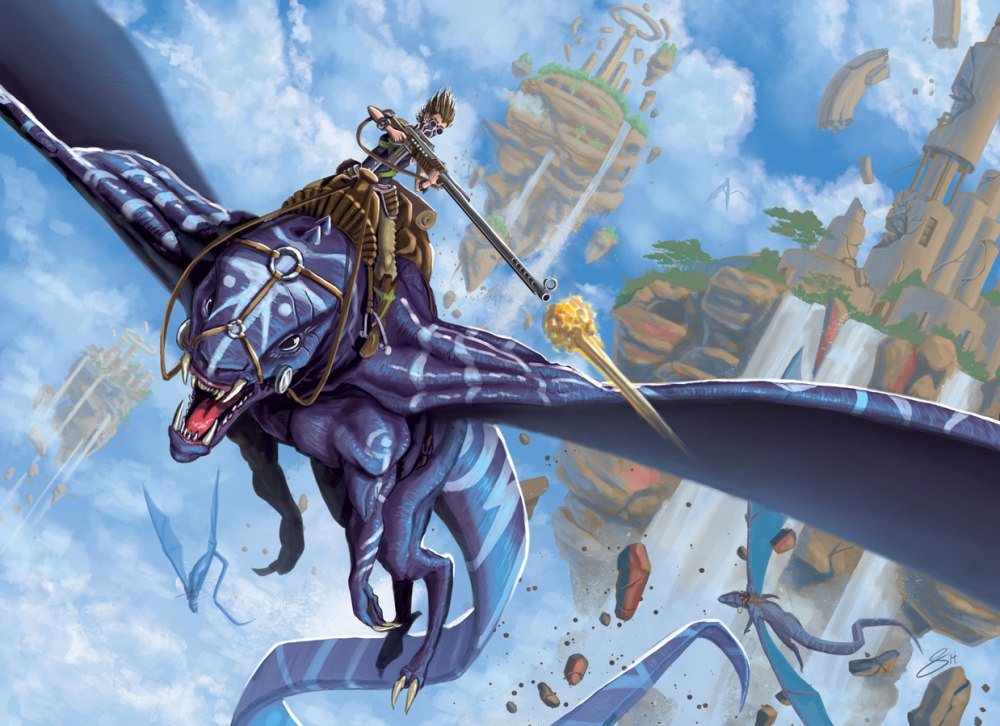 dawn final image, flying beast with riflewoman rider