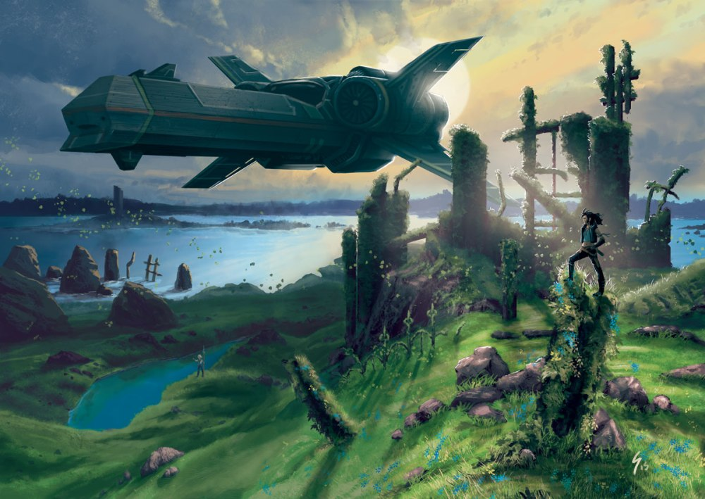 ruins with spaceship and characters